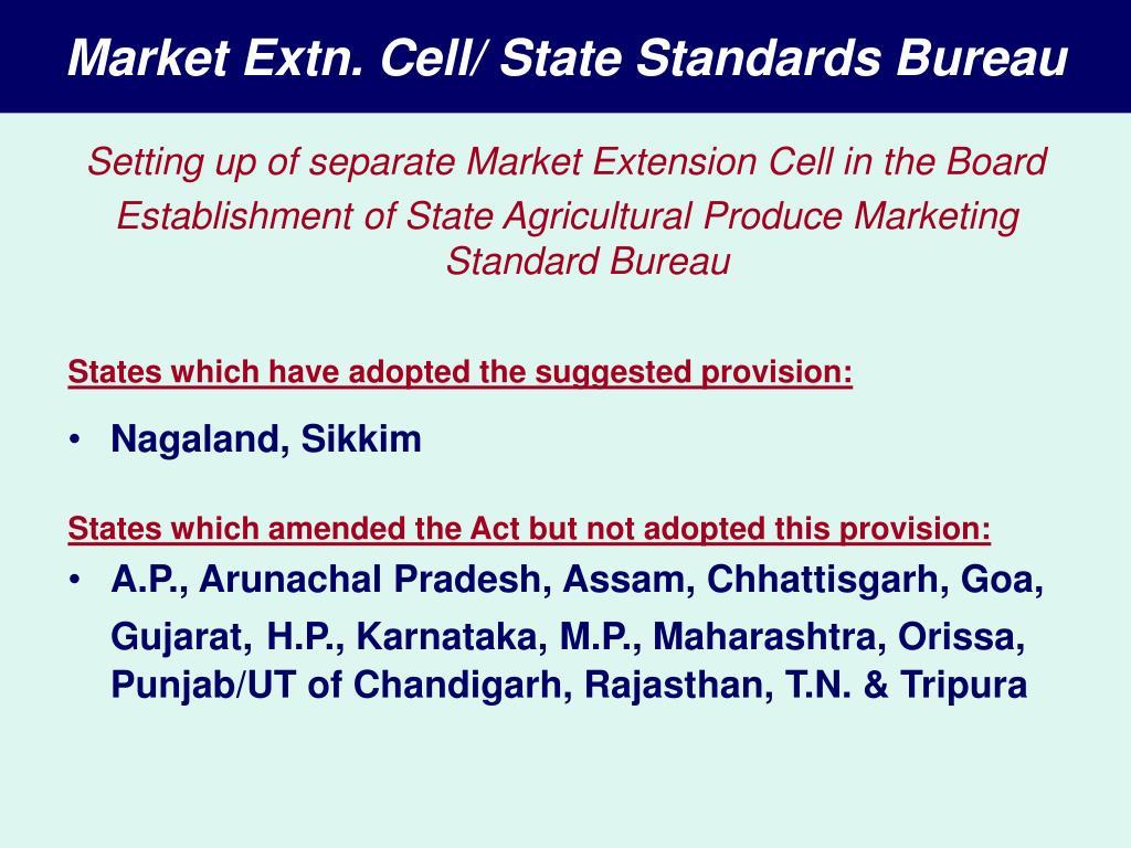 Market Extn. Cell/ State Standards Bureau