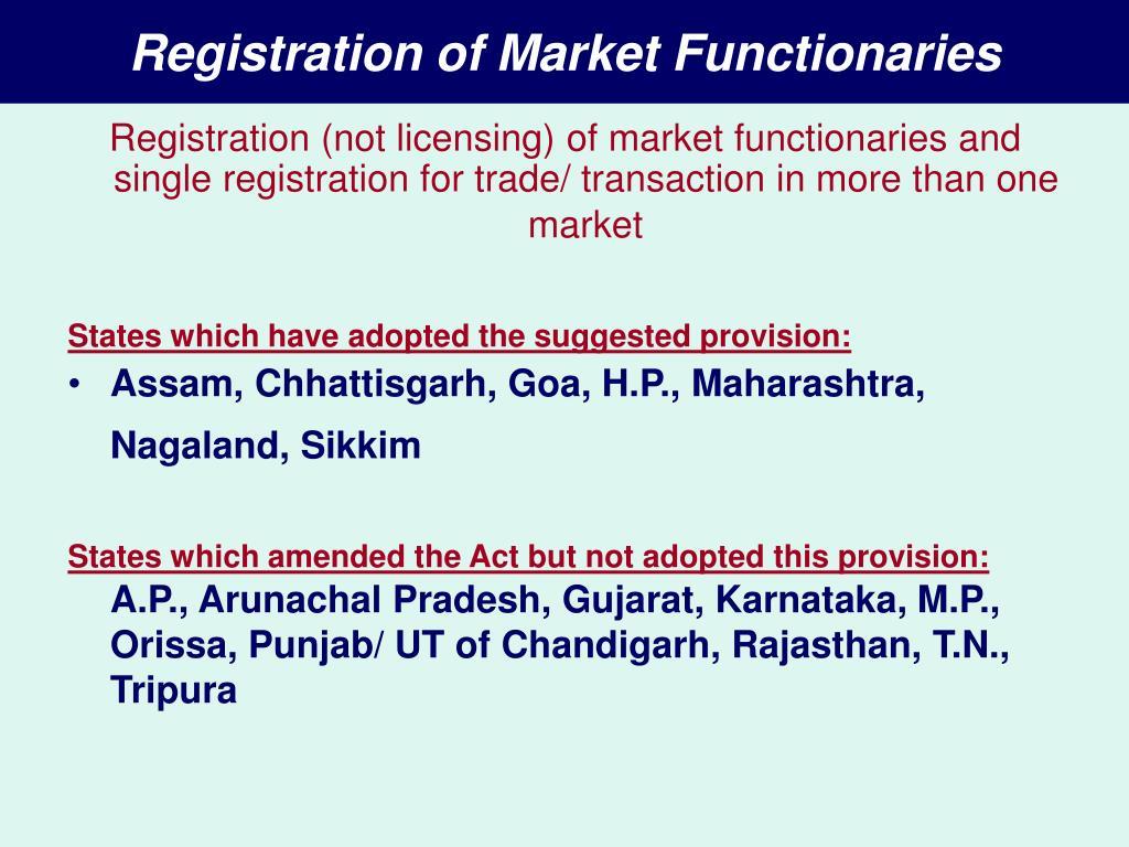 Registration of Market Functionaries