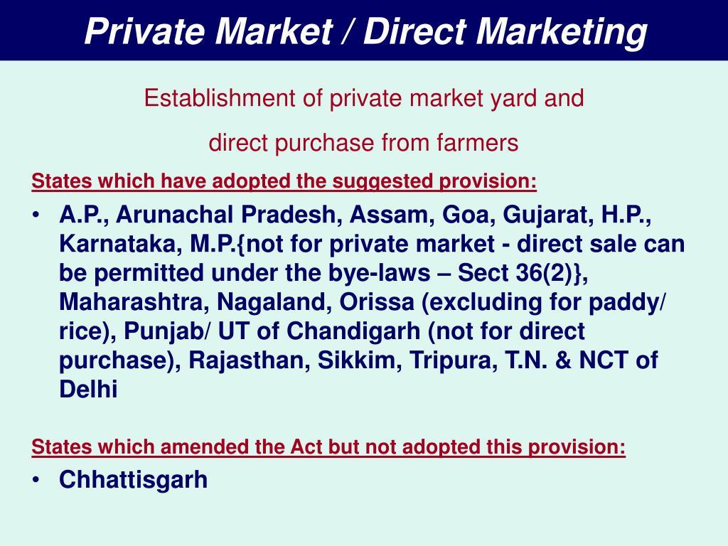 Private Market / Direct Marketing