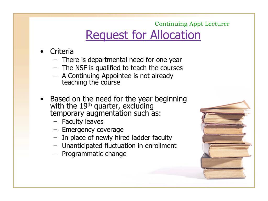 Continuing Appt Lecturer