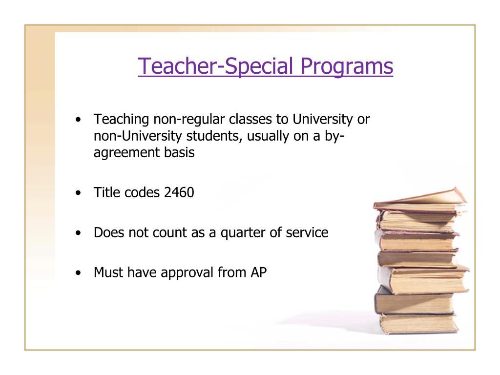Teacher-Special Programs