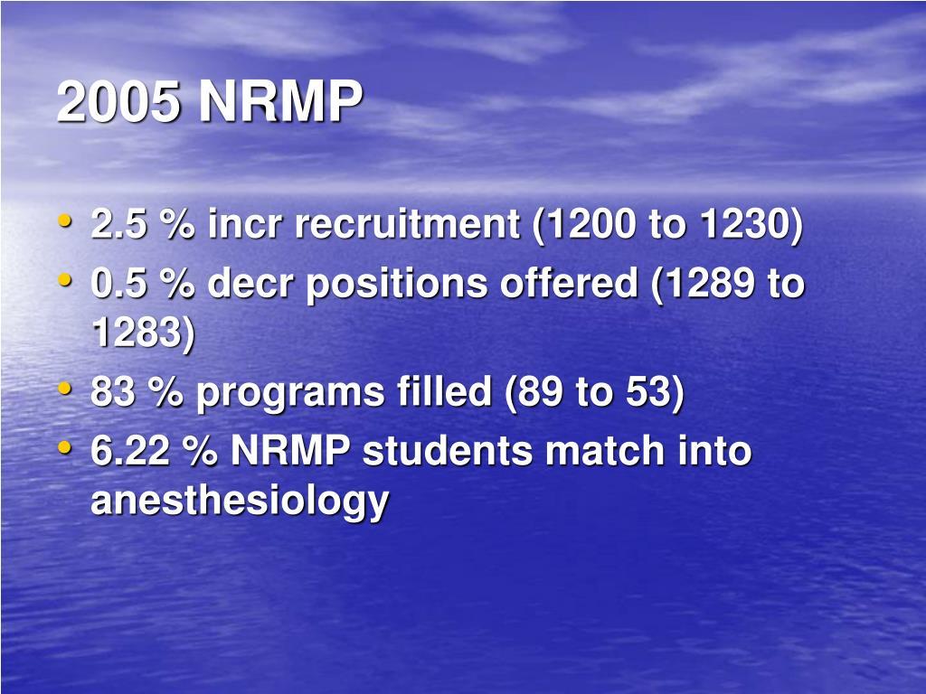 2005 NRMP