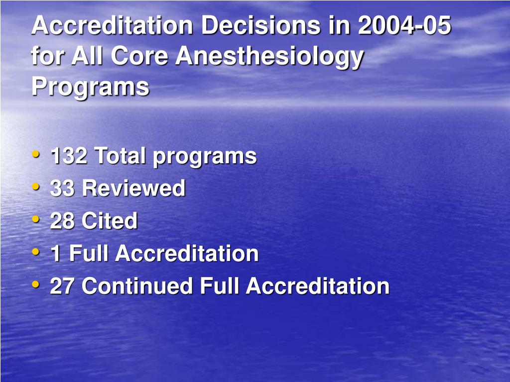 Accreditation Decisions in 2004-05 for All Core Anesthesiology Programs