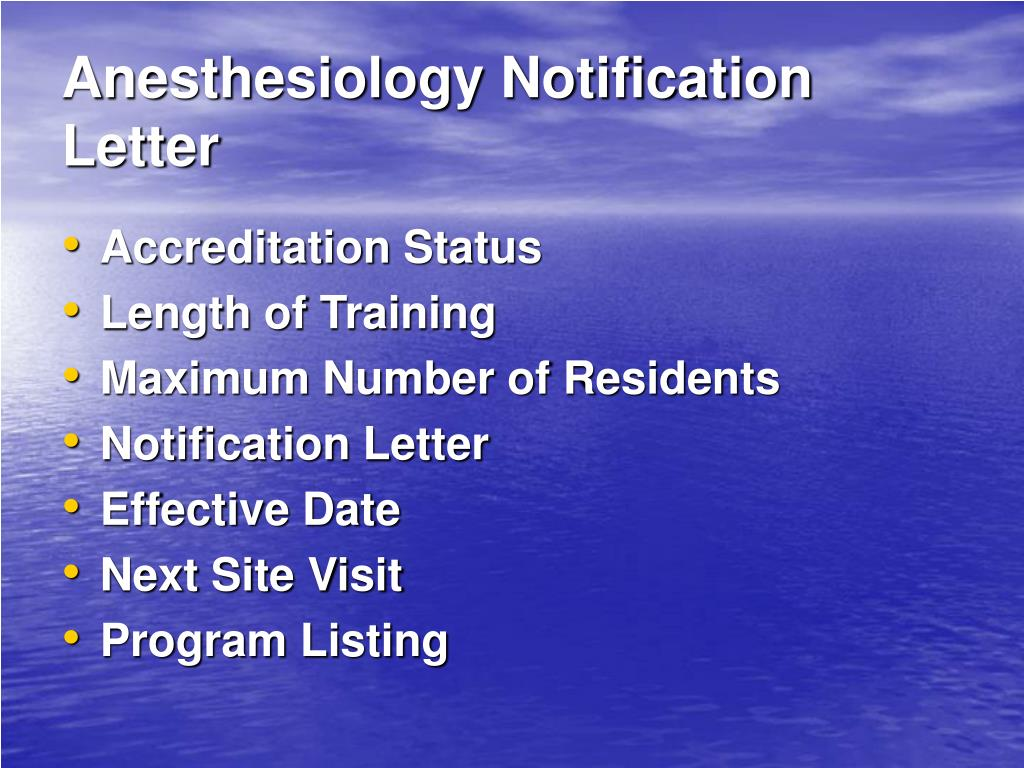 Anesthesiology Notification Letter