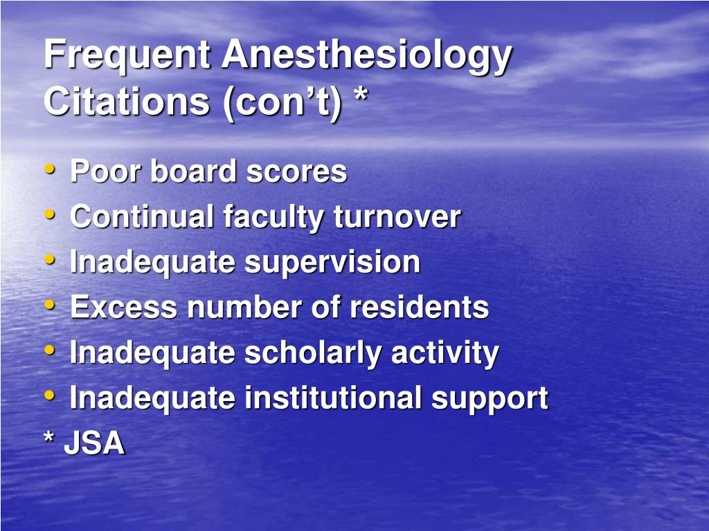 Frequent Anesthesiology Citations (con't) *