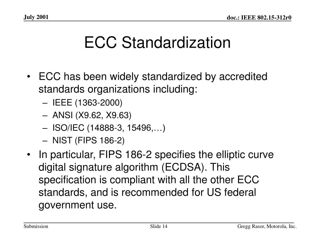 ECC Standardization