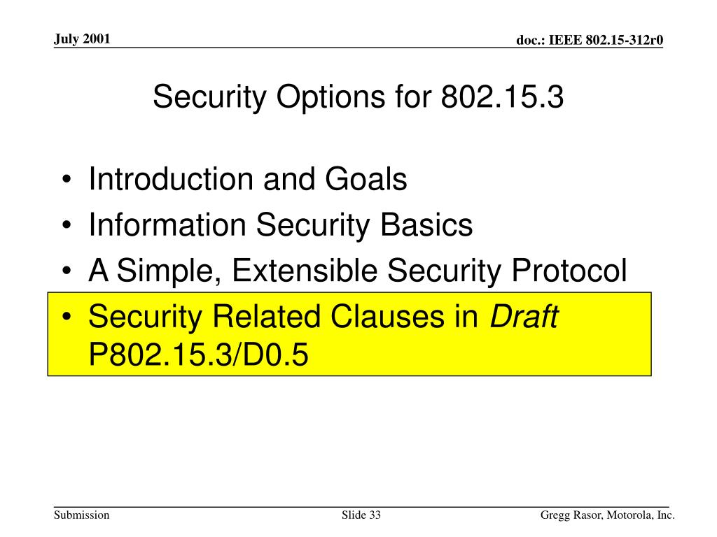 Security Options for 802.15.3