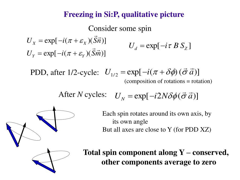 Freezing in Si:P, qualitative picture