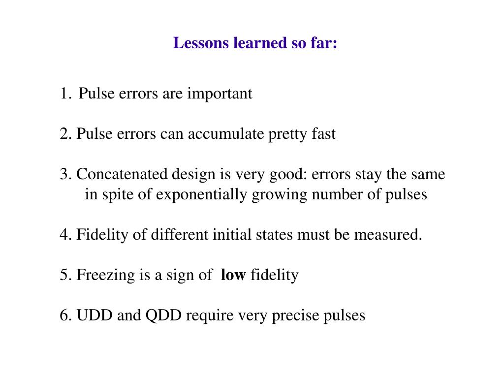 Lessons learned so far: