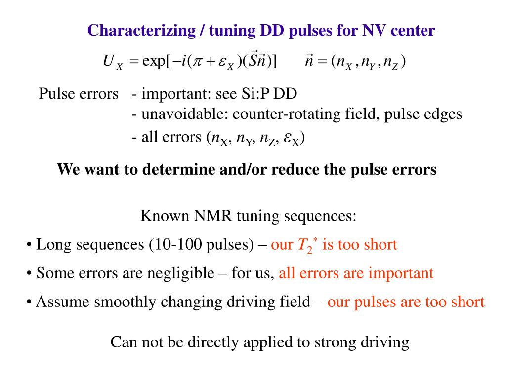 Characterizing / tuning DD pulses for NV center