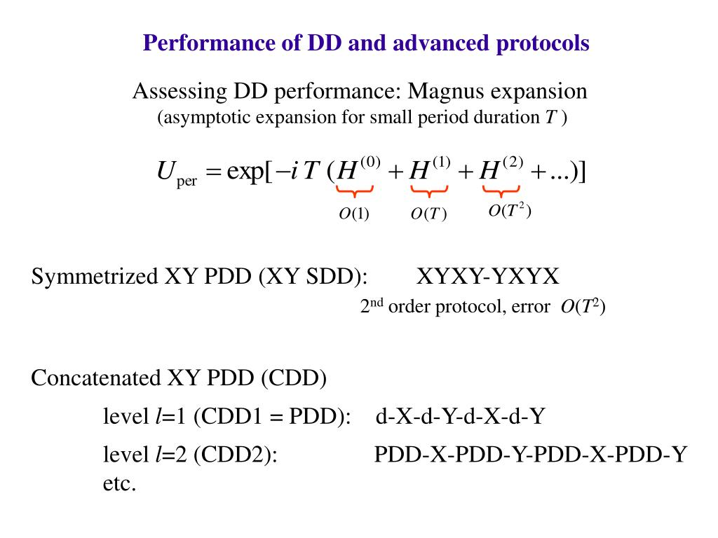 Performance of DD and advanced protocols