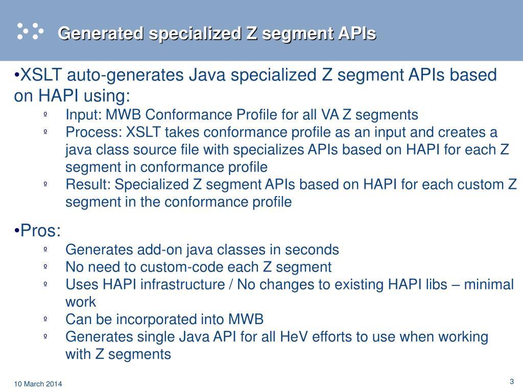 Generated specialized Z segment APIs