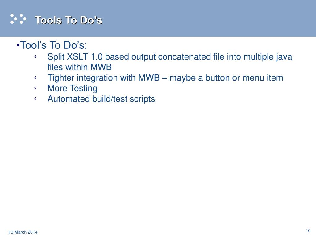 Tools To Do's