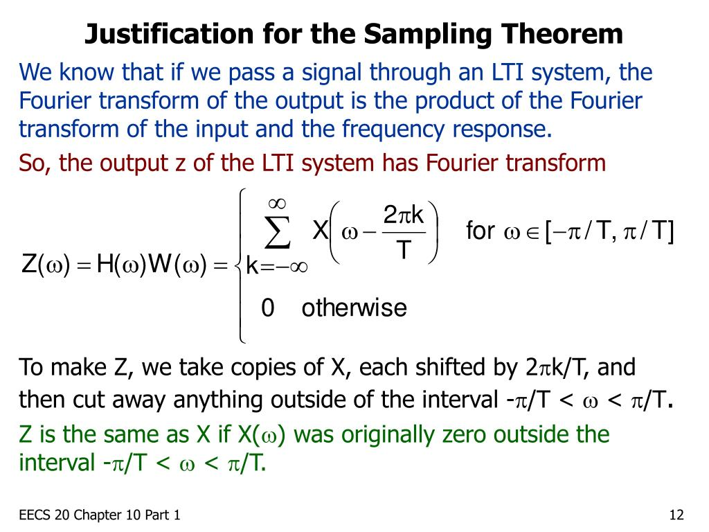 Justification for the Sampling Theorem