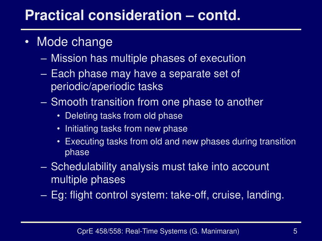 Practical consideration – contd.