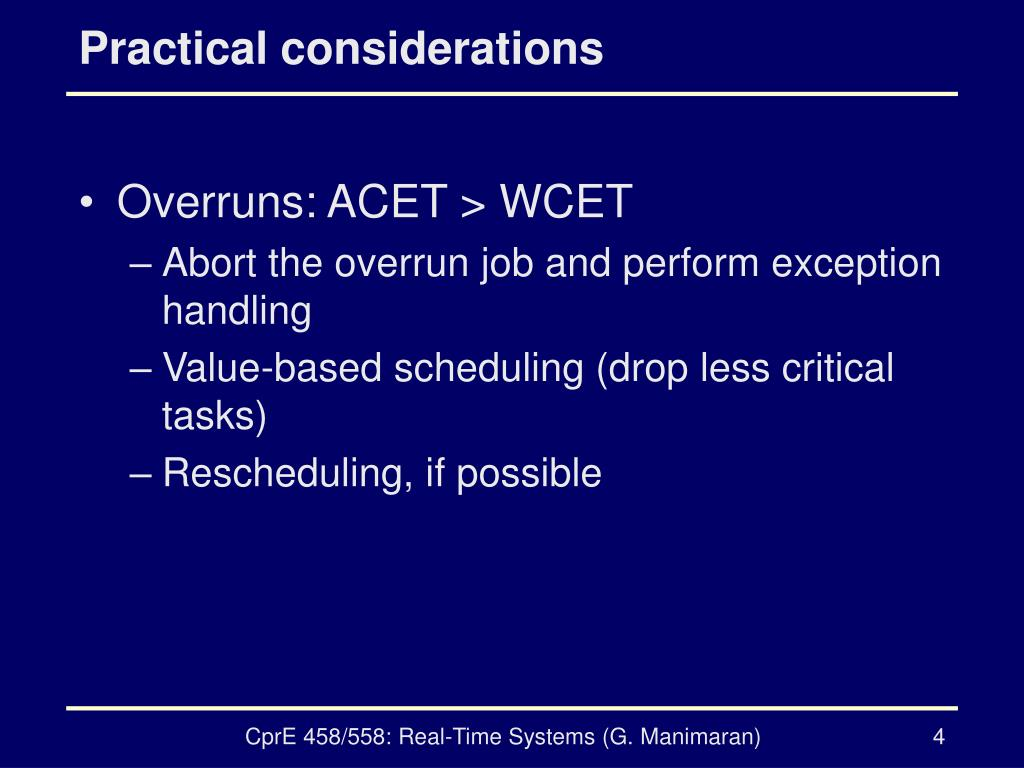 Practical considerations