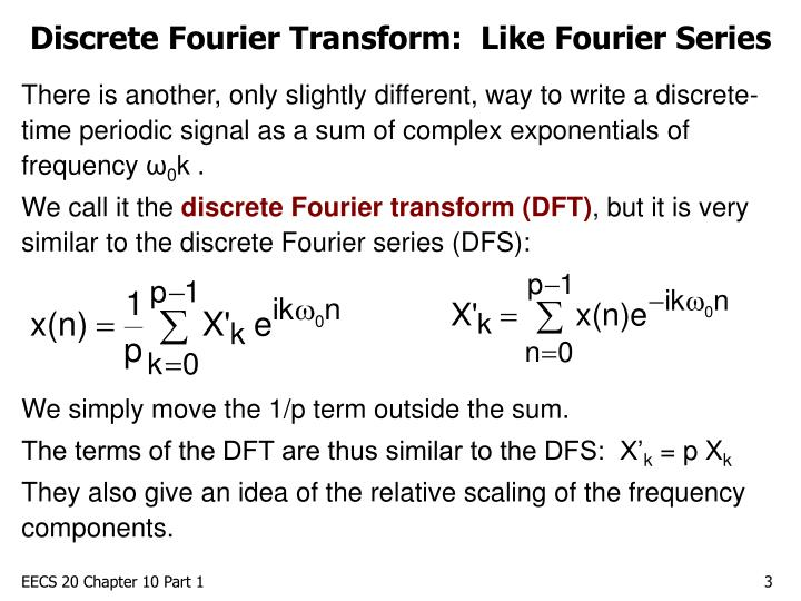 Discrete fourier transform like fourier series