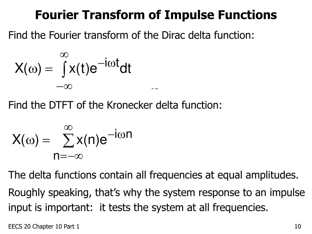Fourier Transform of Impulse Functions
