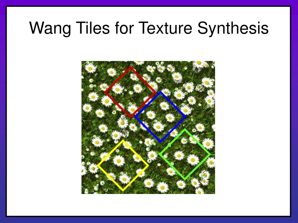 Wang Tiles for Texture Synthesis