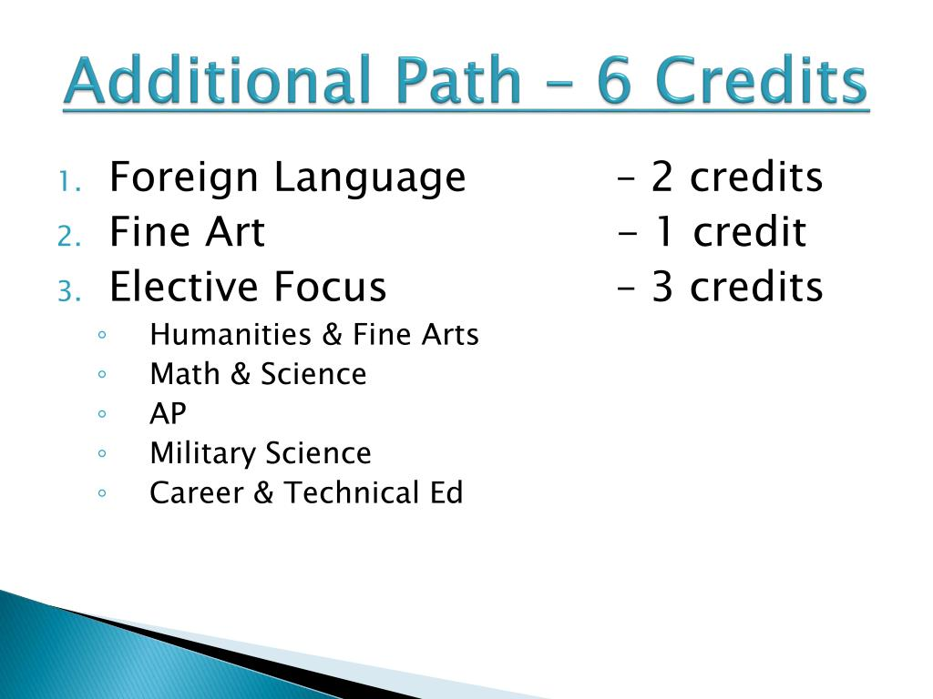 Additional Path – 6 Credits
