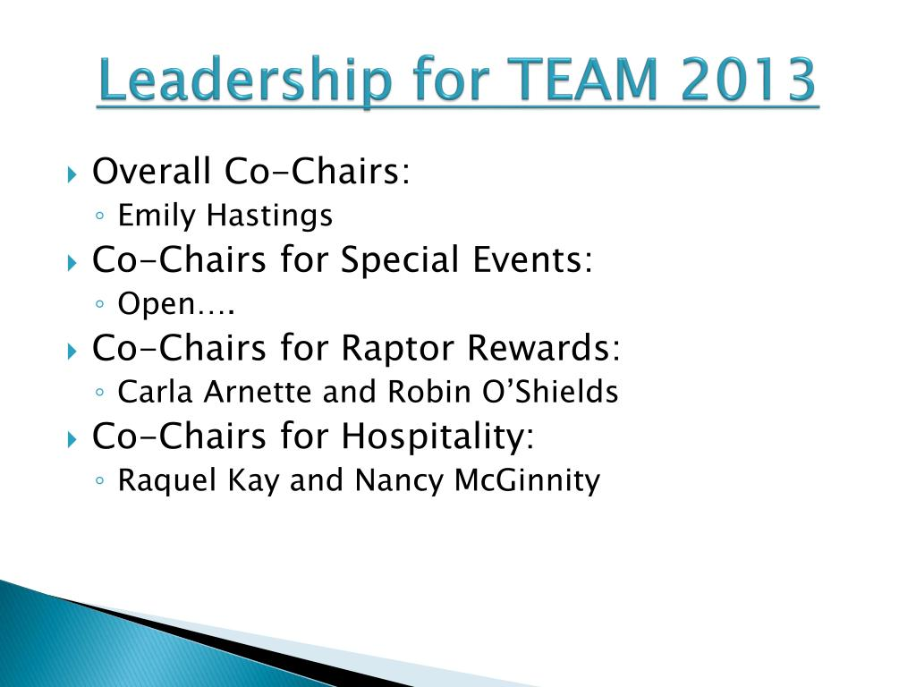 Leadership for TEAM 2013