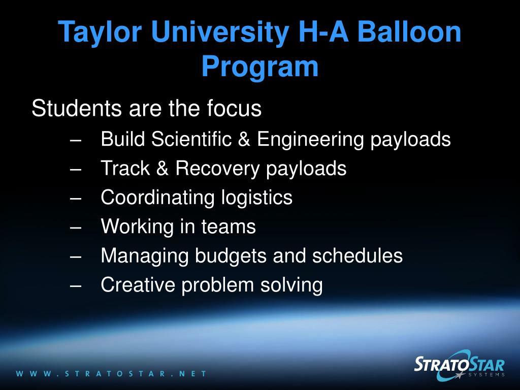 Taylor University H-A Balloon Program
