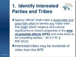 1 identify interested parties and tribes