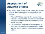 assessment of adverse effects