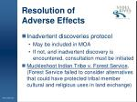 resolution of adverse effects