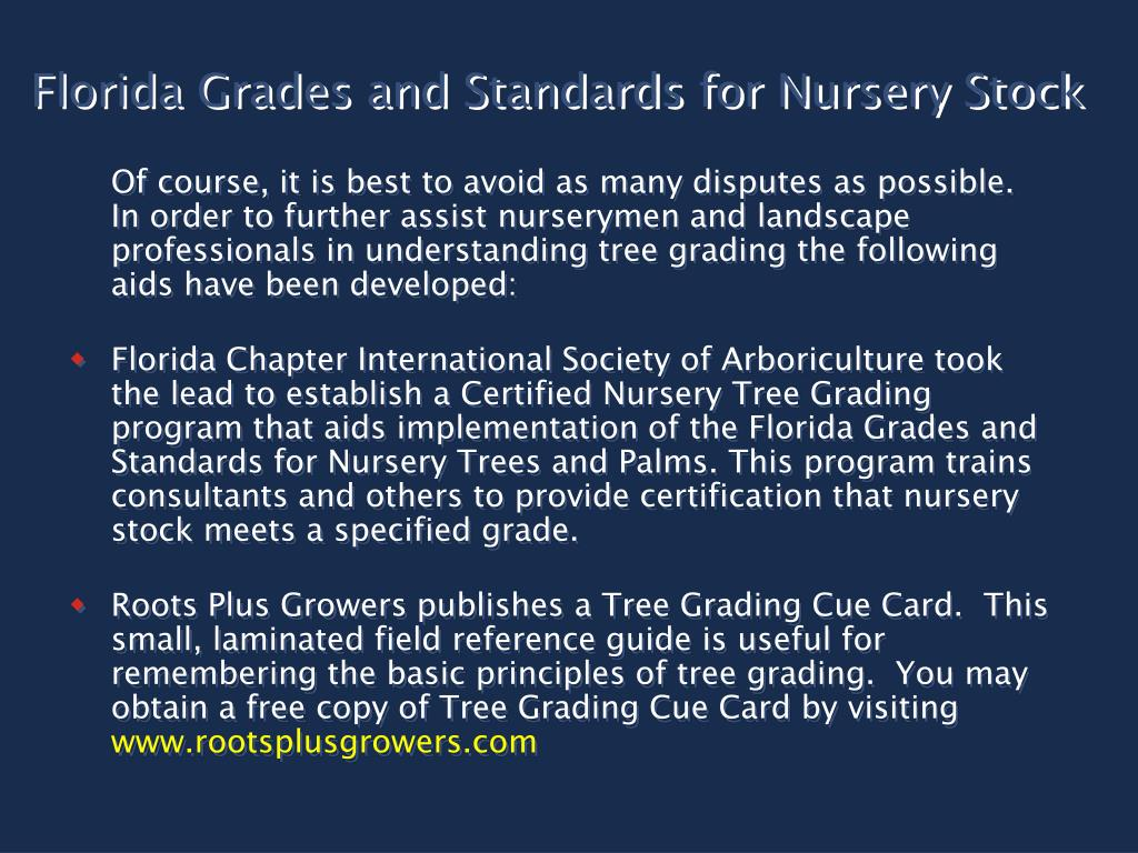 Florida Grades and Standards for Nursery Stock