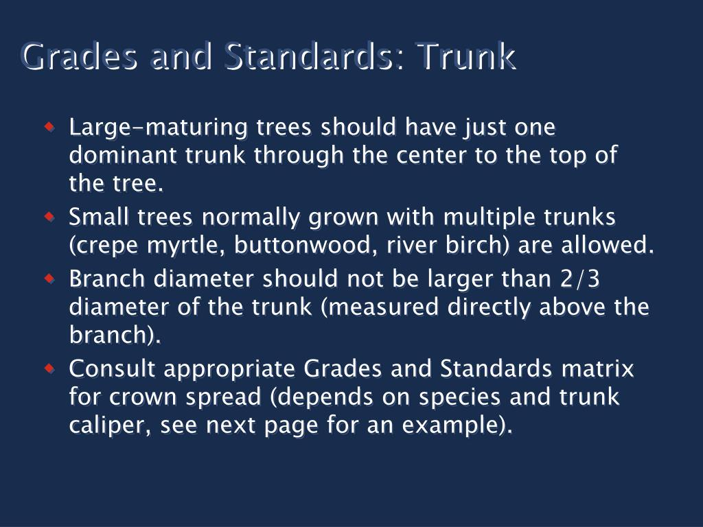 Grades and Standards: Trunk