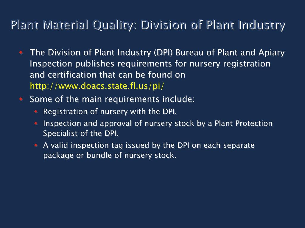 Plant Material Quality: Division of Plant Industry