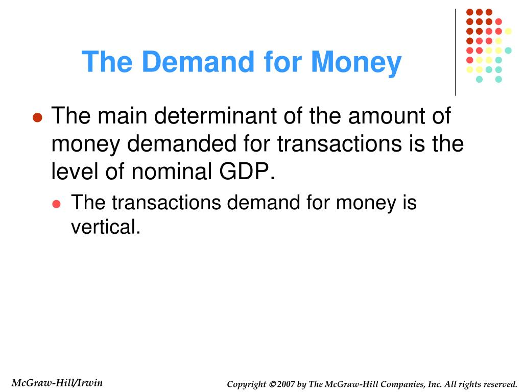 the demand for money In monetary economics, the demand for money is the desired holding of financial assets in the form of money: that is, cash or bank deposits rather than investments.