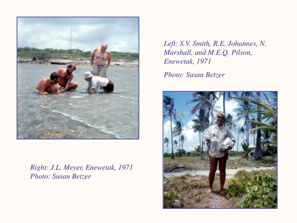 Left: S.V. Smith, R.E. Johannes, N. Marshall, and M.E.Q. Pilson, Enewetak, 1971