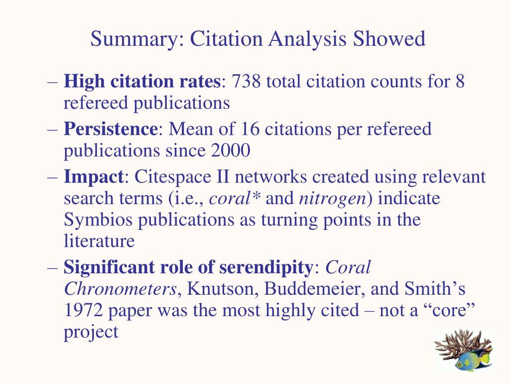 Summary: Citation Analysis Showed