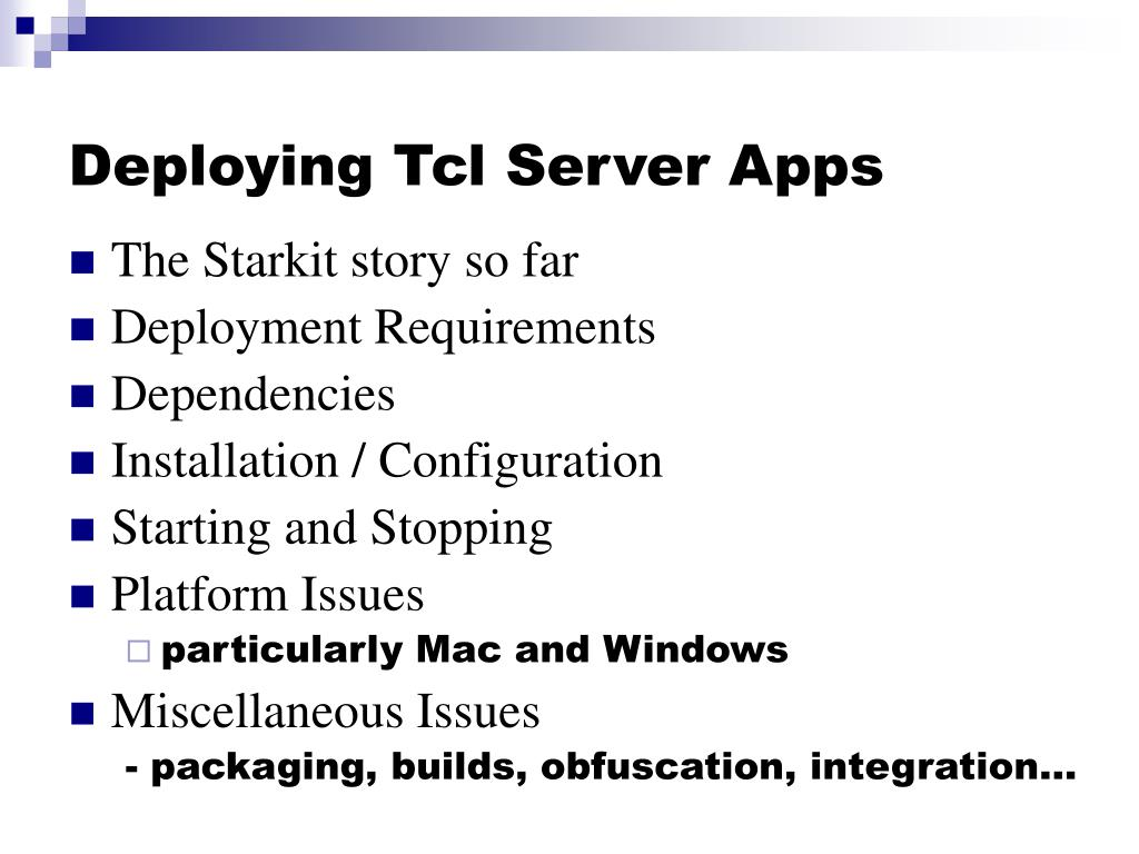 Deploying Tcl Server Apps
