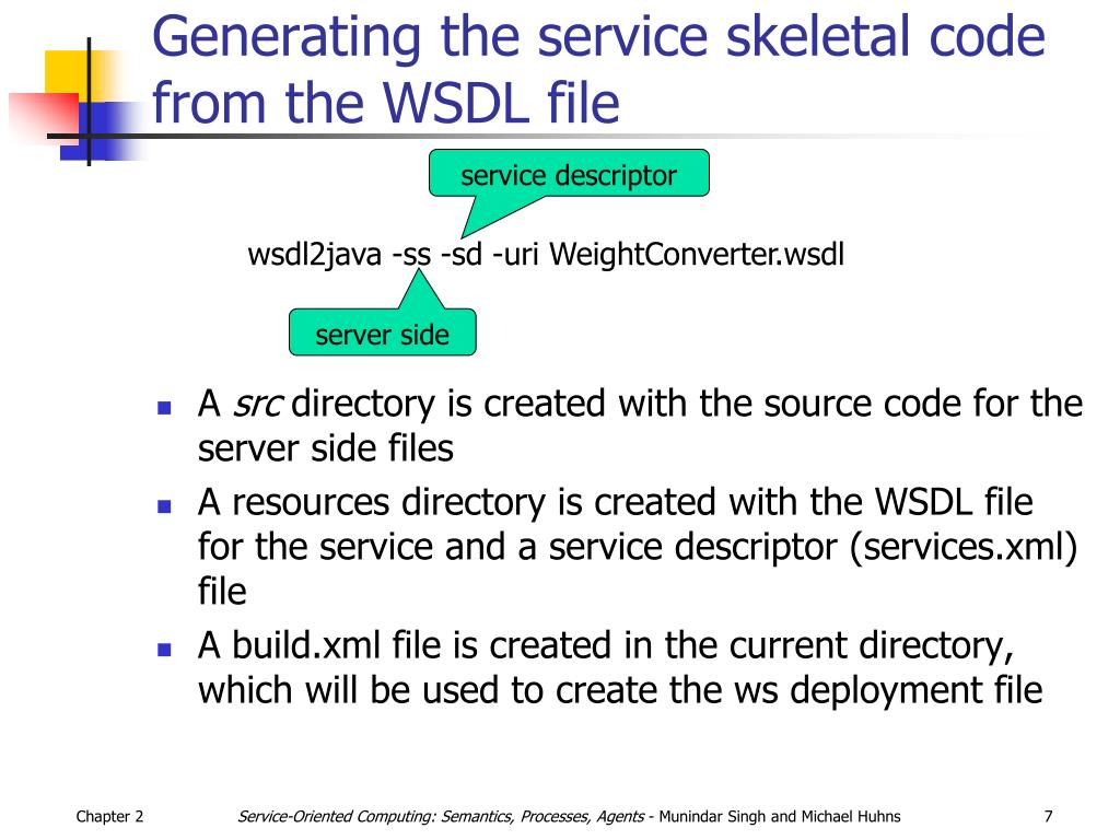 Generating the service skeletal code from the WSDL file