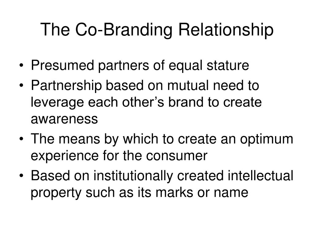 The Co-Branding Relationship