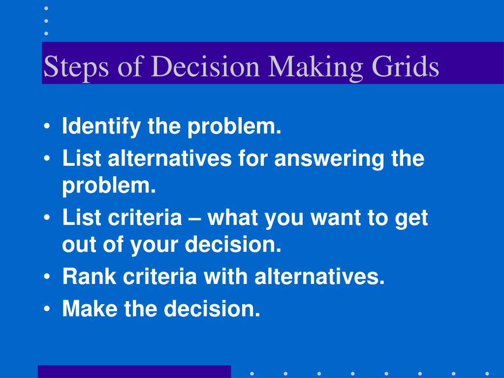 Steps of Decision Making Grids