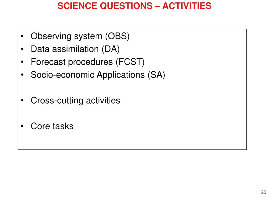 SCIENCE QUESTIONS – ACTIVITIES