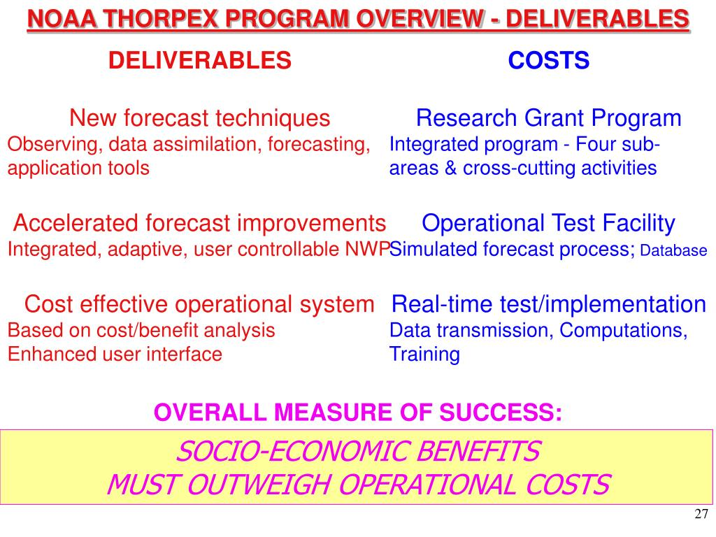 NOAA THORPEX PROGRAM OVERVIEW - DELIVERABLES