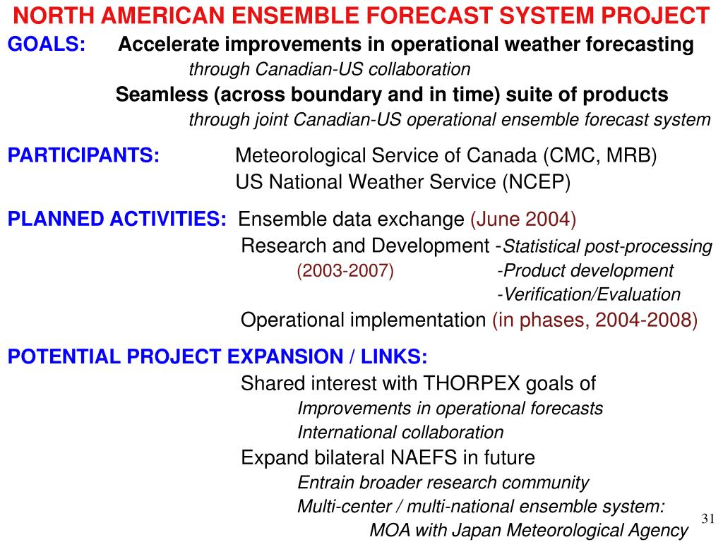 NORTH AMERICAN ENSEMBLE FORECAST SYSTEM PROJECT