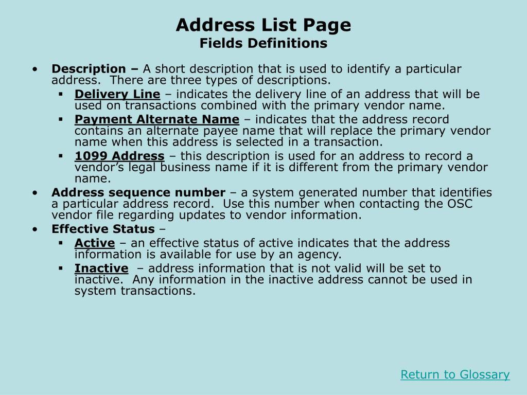 Address List Page