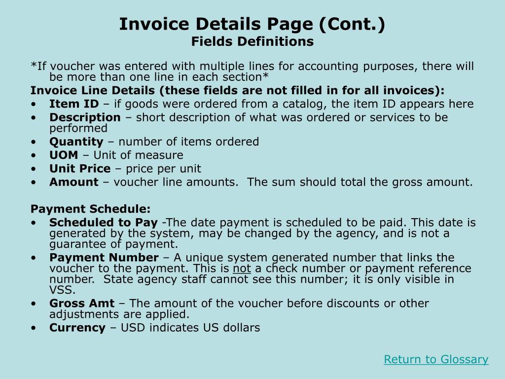 Invoice Details Page