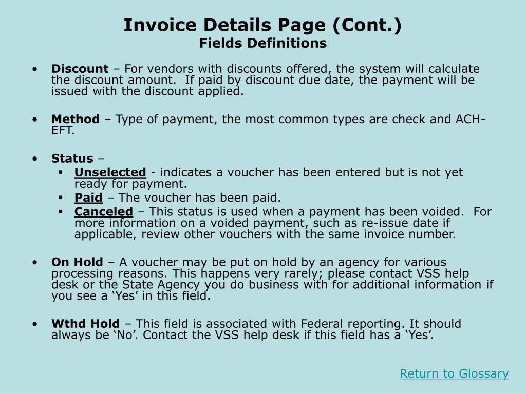 Invoice Details Page (Cont.)