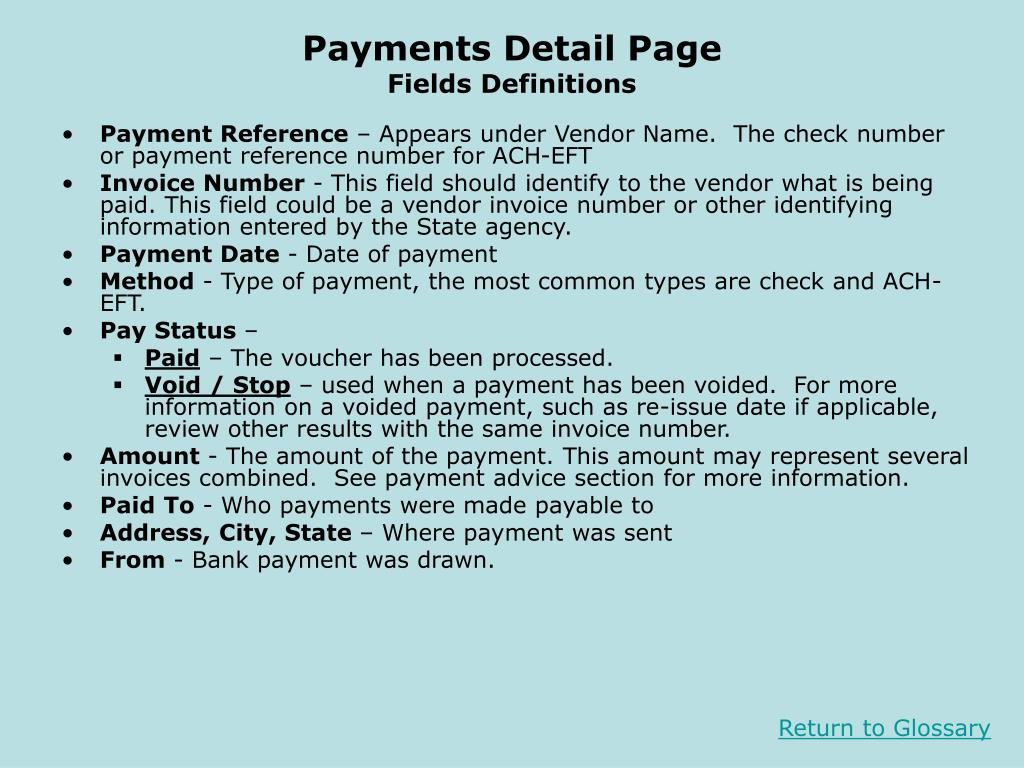 Payments Detail Page