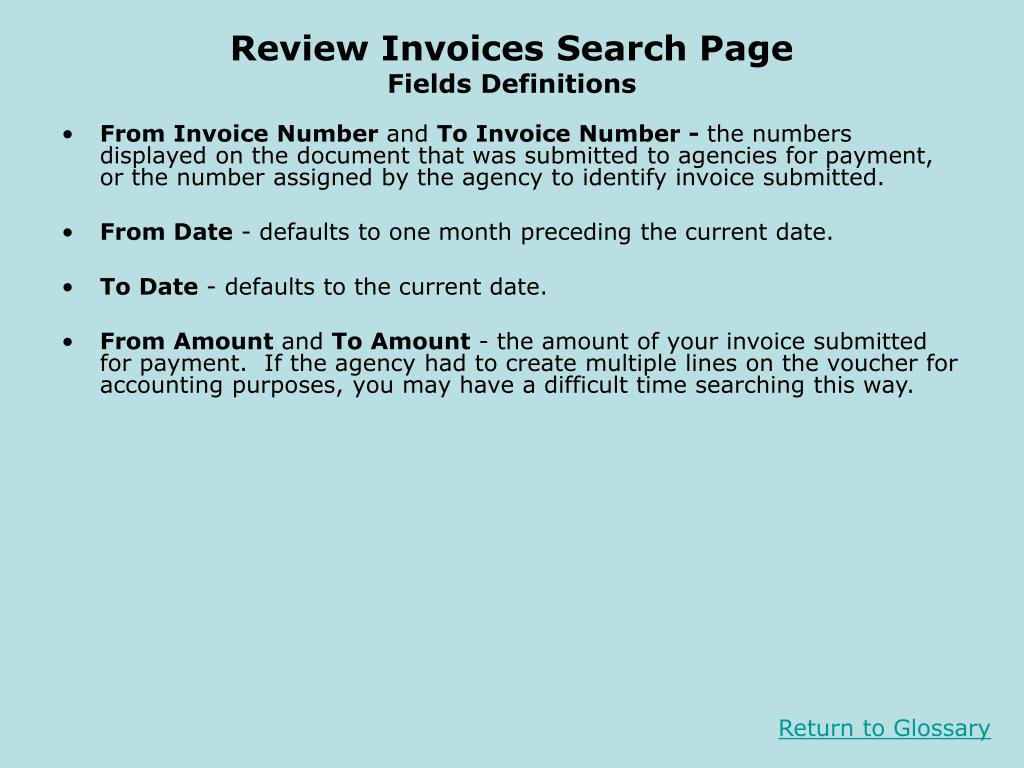 Review Invoices Search Page