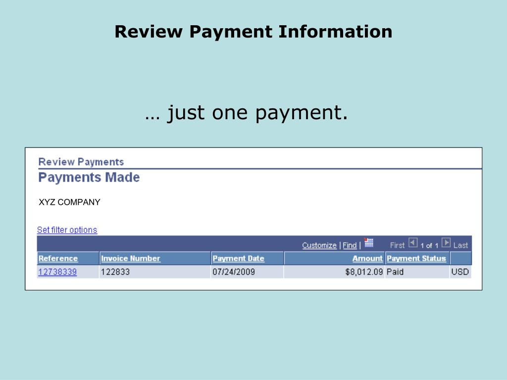 Review Payment Information