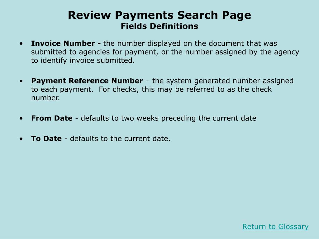 Review Payments Search Page