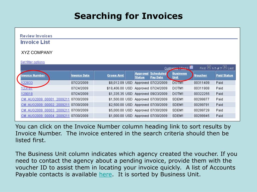 Searching for Invoices